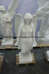 Cementerio grande de mármol blanco llorando Angel estatua talla