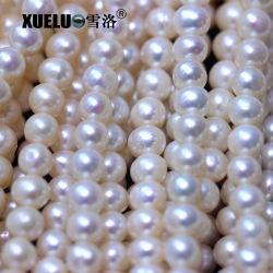 7-8mm 급료 싼 일반적인 질 만들기를 위한 둥근 자연적인 경작된 민물 진주 물가 목걸이 (XL180092)를