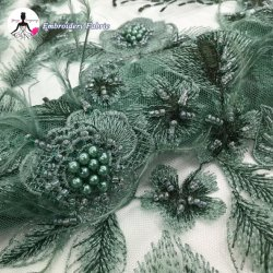 豪華な贅沢3Dの花の緑の羽が付いているビーズのレースファブリック