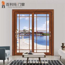 Portello scorrevole di alluminio di stile moderno per il giardino con il vetro basso di vetratura doppia E