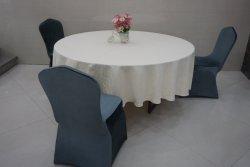 Hotsale 2000*2000 Fer Métal traiteur Banquet Table pliante à manger et chaises Tissu avec motifs de couleur blanche