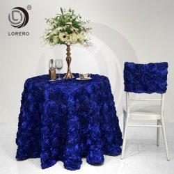 Tissu à mailles de design de broderie bleu royal chiffon Table Rose pour mariage