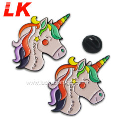 Design personalizado esmalte programável de estampagem de ferro Unicorn Pin de lapela