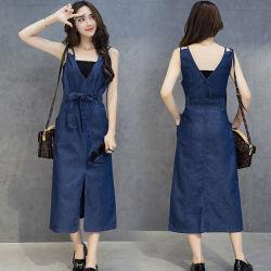 Образом хлопка долго джинсовая одежда летние женские Fashion Pocket Sundresses V-образный вырез горловины В.Путин ослабление Сарафан Дамы платье джинсовой сторона синего платья пляжа Платья