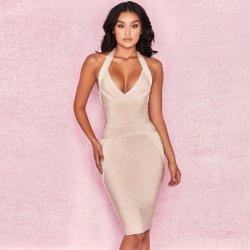 Halter-Stutzen V-Stutzen feste Verpackungs-Hip reizvolles Partei-Verband-Kleid-Smoking-Verband-Kleid