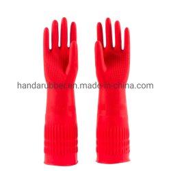 65g de rode Lange Handschoenen van het Latex van het Huishouden van het Manchet, RubberHandschoenen