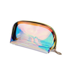 2019 novo e elegante Faux Couro iridiscente holográfico Beleza Cosméticos Bag