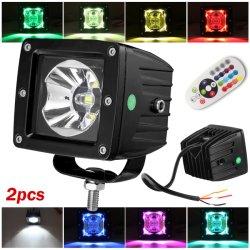 Telecomando 16 Colori Rock LED Light, 3 Pollici 45W Mini Strobe LED Work Light per auto