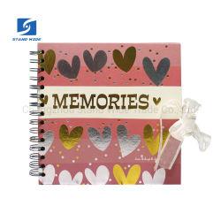 Espiral de papel impresso Scrapbook Álbum com fecho de fita preta, folhas de papelão álbum DIY foto do álbum China Factory