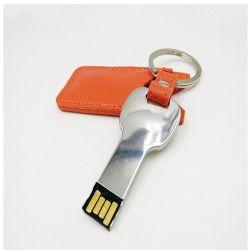 Anneau de clé USB en cuir dur Le disque flash USB à mémoire Flash de métal