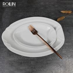 Venda por grosso de porcelana de Placas Oval Ovla cerâmicos para pratos de peixe