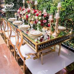 도매 Morden 디자인 식당 가구 연회 사건 당 결혼식 유리제 최고 스테인리스 식탁