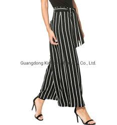 Новый дизайн Customzied моды леди полосой леди повседневный Высокая поясная Wide-Legged прямо из хлопка и льна Pant длинной прямой ослабление саржа одежды Одежда женщин брюки