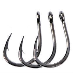 كبيرة حجم [فيش هووك] محدّد [كربون ستيل] وحيد دائرة شص ذبابة صيد سمك [جيب] مزود بأشواك سمكة شبّوط كلاب