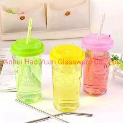 450ml Glass Coffee Cups/Ice Cream Cup/Juice Cup met Plastic GLB met Straw