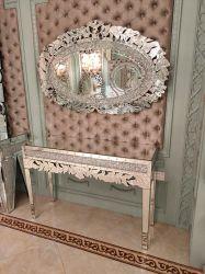 Diamante de alta qualidade esmagar espelhado mesa console com o conjunto do retrovisor