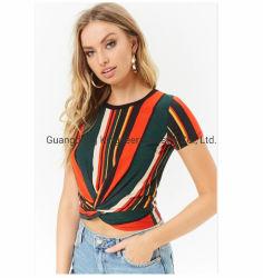 Новые цветные полосы Polyster моды радуга круглой горловины короткие рукава женских T футболка одежды