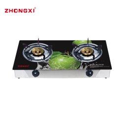 Le Bangladesh brûleur à gaz brûleur à double 3D Table de cuisson en verre cuisinière à gaz (JZ-RS302)