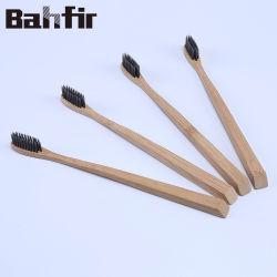 Meilleure qualité de la brosse à dents avec du charbon de bois de bambou biodégradable Crin noir