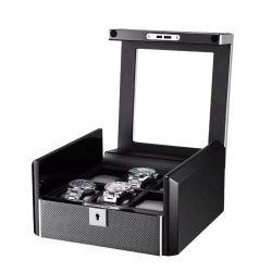Custom 9 grilles laque Piano OEM de velours de regarder l'emballage en bois CASE Étui de rangement de montres de luxe