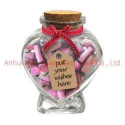 Árbol de Navidad de 300 ml frasco de vidrio en forma de corazón con corcho