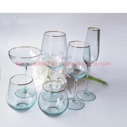 Venda por grosso de cor-de-rosa do aro de ouro Copo de vidro do vinho a granel