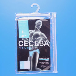 Рекламные прозрачная виниловая пленка ПВХ Clear нижнее белье Pack Zipper мешки с крюком подвес