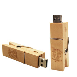 (Über 10pcs Free Logo) Creative Wooden Clip USB-Flash-Laufwerk Pendrives 2,0 16GB 32GB Memory Stick 2,0 U Disk 64GB