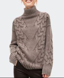 La lana trenzada de cable de las mujeres mezclados los géneros de punto jersey tejido Turtleneck