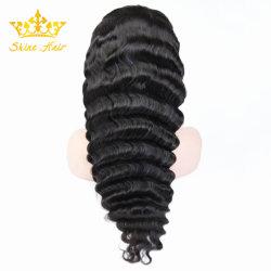 Negro natural 100% HUMANO REMY sin pegar el pelo Puntilla Puntilla/Full peluca de onda de cuerpo recto onda profunda rizado
