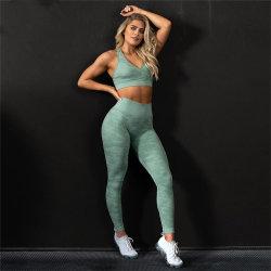 Form-zweiteilige Trainings-Frauen-reizvolle Kleidungs-stellte Leuchtstofftrainingsnazug-Yoga die 2 Stück-Ausstattungs-Eignung-Kleidung ein
