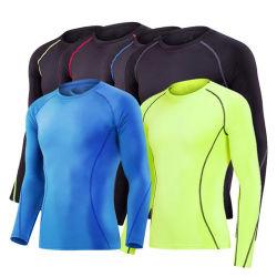 Kundenspezifische lange Hülsen-Polyester-Sublimationmens-Sport-T-Shirts 100% von der China-Kleidungs-Fabrik