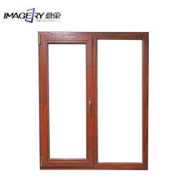 Оэс алюминия деревянные окна на шарнирах со стальным Fly экран