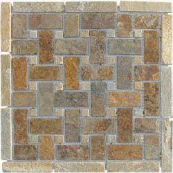 Disegni naturali del mosaico della pietra dell'ardesia per la parete
