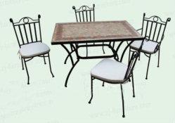 5 pièces de mobilier de jardin de la mosaïque moderne en fer forgé ensemble bistro 5PCS