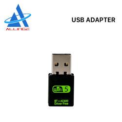 Lyngou LG514 600Mbps Bluetooth 무선 네트워크 카드 USB WiFi 접합기 2.4GHz 5GHz WiFi 안테나 듀얼-밴드 컴퓨터 통신망 카드 수신기