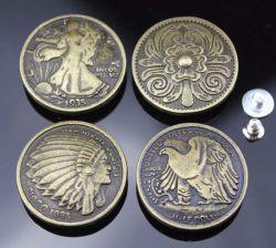 Portefeuille en cuir Hollowout antique Saddle Conchos armoire métallique boutons personnalisés pour les accessoires de meubles de tiroir