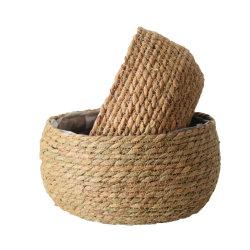 Round Erva artesanais/Sea Aguap qualquer material natural simpática casa vestuário/Armazenamento de Acessórios/Cesta de brinquedos