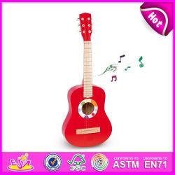 Instrument de musique de guitare en bois coloré pour la vente, jouet en bois de la guitare avec des prix bon marché, commerce de gros bois jouet de guitare de bricolage W07H037