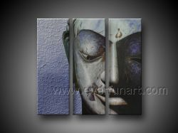 100% de la mano pintada de cara Buda Óleo sobre lienzo (FI-052)