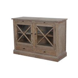 Во французском стиле небольших твердых дуба деревянные двери Sideboard два шкафа электроавтоматики