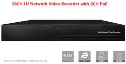 H. 265 16CH 2 unidades de disco duro grabador de vídeo en red NVR 4K con Poe 8CH