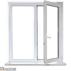 UPVC/PVC het Plastic Openslaand raam van het profiel met Dubbel Aangemaakt Glas