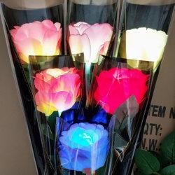 Lumière LED colorées jusqu'Roses Bouquet de fleurs artificielles