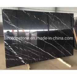 Nero Marquina carrelage de marbre noir 24X24, le chinois prix bon marché de la pierre naturelle de la dalle de marbre noir Nero Marquina, marbre Noir Marquina