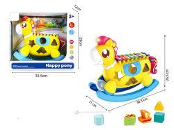 С удовлетворением пони музыкальный игрушка лучшим подарком для детей в новейших Xylophone игрушка с помощью света и музыки
