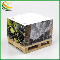 Bloque de cubo de papel fantasía promocional Nota sobre el palet de madera con Personalizar Imprimir