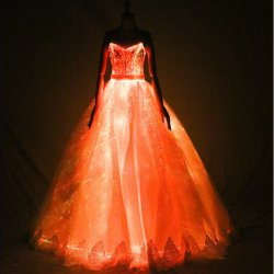 Intelligent luminoso colorido vestido de noiva de Fibra Óptica saia da luz de presença