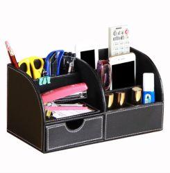 Recipiente de caneta de PU couro, Papelaria recipiente de armazenamento de dados do organizador do computador do escritório