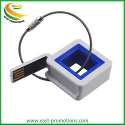 شريحة ذاكرة USB Flash Drive ذات شكل مربع بلاستيكية مع حلقة سلكية